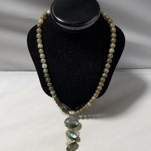 Jewelry - 925 Silver Labradorite Pendant Stone Bead Necklace